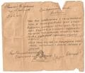 1945-04-09 Major Lebedev (Red Army) letter to mayor of Albinov, World War II.PNG