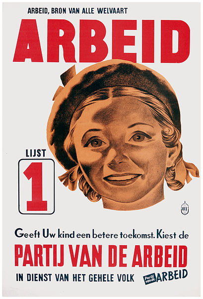 File:1946 election poster PvdA - uw kind.jpg