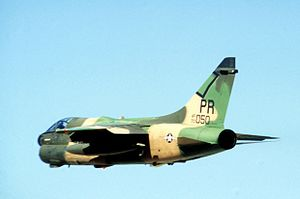 Puerto Rico Air National Guard - A-7D Corsair II, AF Ser. No. 70-1050, from the 198th TFS, 156th TFG, Puerto Rico Air National Guard, in flight prior to the 12 January 1981 attack.  This was one of the destroyed aircraft.