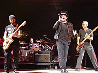 "U2, minus Larry Mullen, guest starred in ""Trash of the Titans""."