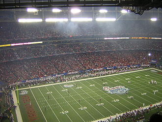 2006 Chick-fil-A Bowl - Virginia Tech and Georgia prepare to kick off.