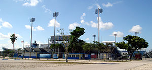 Aussenansicht des Lockhart Stadium in Fort Lauderdale, Florida
