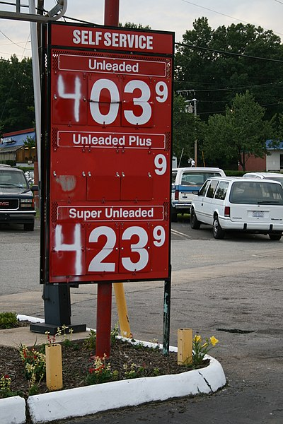 Photo of a gas price sign.
