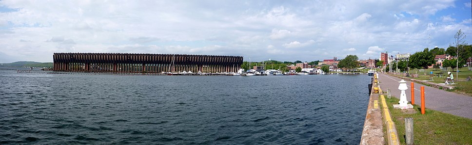 Panorama of Lower Harbor and downtown Marquette, from Lower Harbor Park. The Lower Harbor Ore Dock is no longer in operation.