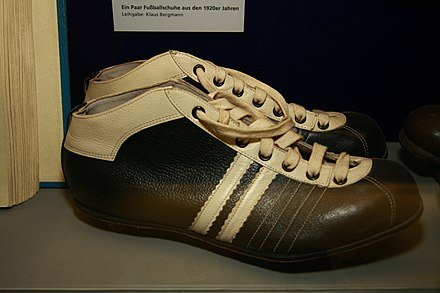 The cleats worn by the entire S04 squad players in the 1920s displayed at the museum of Schalke 04. 2010-06-03 Arena AufSchalke 07.jpg