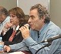2011-09-30. Eduardo Jozami (1939-), en la Feria del Libro (Buenos Aires) 3 (con Nilda Garré, ministra de Seguridad de la Nación).jpg