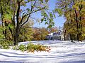 2011-10-30 07-Trees and house on Linvale Road in East Amwell, Hunterdon County, New Jersey after 6 to 7 inches of snow fell the previous day during the 2011 Halloween nor'easter.jpg