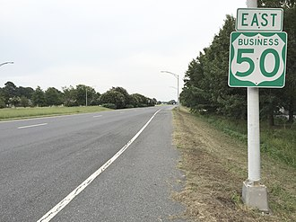 U.S. Route 50 Business (Salisbury, Maryland) - View east along US 50 Bus. at Civic Avenue