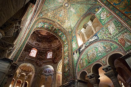 Interior of the Basilica of San Vitale from Ravenna (Italy), decorated with elaborate and glamorous mosaics