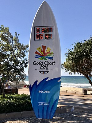 2018 Commonwealth Games - Countdown clock at Surfers Paradise
