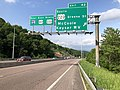 2019-05-17 17 02 48 View east along Interstate 68 and U.S. Route 40 (National Freeway) at Exit 42 (SOUTH U.S. Route 220-Greene Street, McCoole, Keyser WV) in Bowling Green, Allegany County, Maryland.jpg