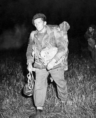 Special Air Service - 21 SAS soldier after a night parachute drop exercise in Denmark, 1955