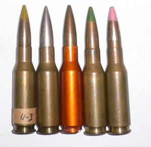 .280 British - Various .280 Ball Cartridges. Orange cased cartridge is made out of aluminium.