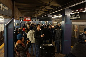 Second Avenue (IND Sixth Avenue Line) - Riders crowd the platform following the last trip of 2012's nostalgia special