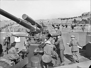 Volunteer Defence Corps (Australia) - Members of the Volunteer Defence Corps training with a 3.7 inch anti-aircraft gun emplaced on Kensington golf links in Sydney.
