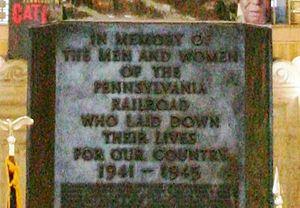 Pennsylvania Railroad World War II Memorial - Image: 30th Street Station Angel Of The Resurrection cropped
