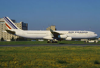 Air France Flight 358 - F-GLZQ, the aircraft involved in the incident, at Charles de Gaulle Airport.