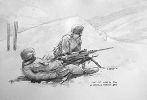 3rd Battalion, 23rd Marines - Sketch by Sgt. Kristopher J. Battles: Lance Cpl. Jonas Cuti and Cpl. James Rumfola with Weapons Company, 3rd Battalion, 23rd Marine Regiment, fire the M2 .50 caliber heavy machine gun at Hawthorne Army Depot, Nev., during exercise Javelin Thrust 2010.