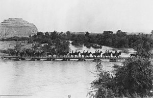 5th Light Horse Regiment (Australia) - 5th Light Horse crossing the pontoon bridge at the Ghoraniye Bridgehead