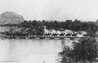 5th Light Horse Regiment (Australia) - 5th Light Horse crossing the pontoon bridge at the Ghoraniye Bridgehead