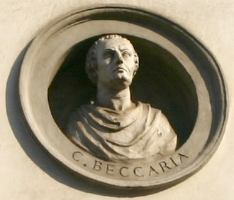Neoclassical architecture in Milan - Neoclassical medallion of Cesare Beccaria at the Palazzo Brentani
