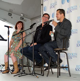 "John Leguizamo - From left to right: Sara Benincasa, Bob Saget, and Leguizamo on a ""Comedians as Authors"" panel at the 2014 Brooklyn Book Festival"