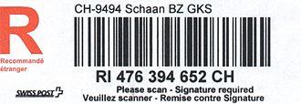 "Code 128 - A Swiss postal barcode encoding ""RI 476 394 652 CH"" in Code 128-B"
