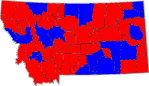 United States Senate election in Montana, 1996 - Image: 96MTSenate Counties