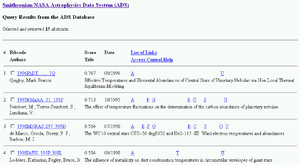 Astrophysics Data System - Search results page from ADS – A, F, G, C, R etc. are links to associated data for each abstract such as full-text article, citations, also-read papers and so on.