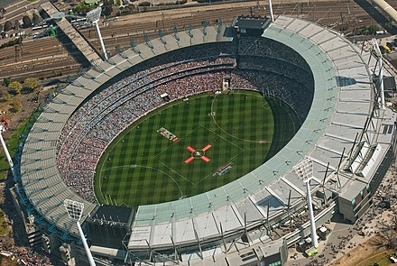 The Melbourne Cricket Ground is strongly associated with the history and development of cricket and Australian rules football, Australia's two most popular spectator sports. AFL Grand Final 2010 on the Melbourne Cricket Ground.jpg