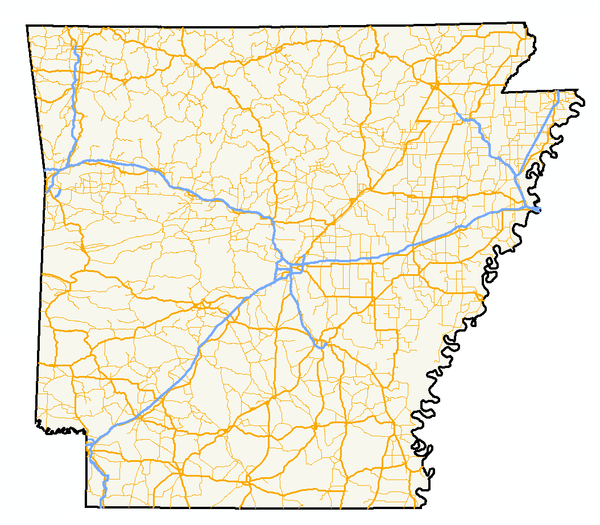 The State of Arkansas, with Interstates in blue, US Highways in bold yellow, and state highways in narrow yellow AR highways.png