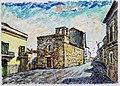 ATESSA - CH - 1990 - Largo Castello - China e olio su carta 27,5 x 20 dipinto di Gaetano Minale.jpg