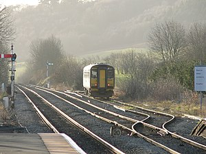 Heart of Wales line - The start of the line at Craven Arms, where it diverges from the Welsh Marches line