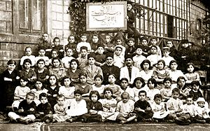 "Bahá'í Faith in Azerbaijan - A Baha'i ""character building"" class in Baku, 1926 shows a group of Baha'i children receiving instructions in the principles of character training."