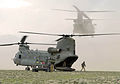 A Chinook helicopter from 27 Squadron RAF launches after it has embarked troops at the Forward Operating Base. Afghanistan.03-05-2002 MOD 45140382.jpg