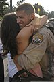 A U.S. Airman from the 169th Fighter Wing gives a hug after returning from Iraq Aug. 29, 2010, at McEntire Joint National Guard Base, S.C 100829-F-HU793-002.jpg