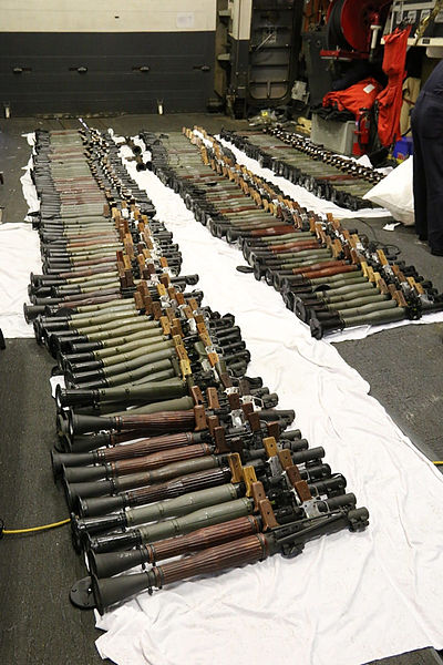 File:A cache of weapons is assembled on the deck of USS Gravely (26142029092).jpg