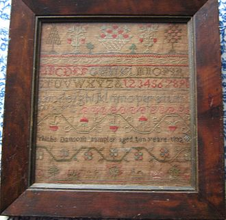 Clan MacQuarrie - Image: A sampler made by Thisbe Danson in 1832