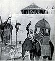 A savage lesson for Khusru by compelling him to ride on an elephant between ling line of his companions impaled on stakes.jpg
