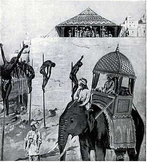 Khusrau Mirza - Khusrau compelled to watch his supporters impaled