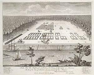 History of Savannah, Georgia - View of Savannah, 1734.