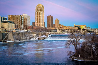 Central, Minneapolis - Image: A view of downtown Minneapolis from the Stone Arch Bridge