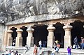 A view of the entrance of the elephanta caves.JPG