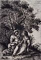 A woman sitting outside with a friend breast-feeding her chi Wellcome V0015021.jpg