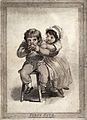 A young girl tries to take an apple from her brother as he t Wellcome V0038796.jpg