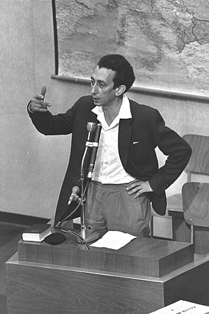 Abba Kovner - Abba Kovner testifying at the trial of Adolf Eichmann