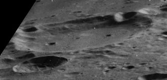 Abbe (crater) - Oblique view of Abbe, facing west.  Lunar Orbiter 5 image.