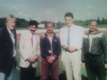 Abdul Khaliq in meddle with Doc. Abdul Waheed Mughal and International Coaches in 1987 at West Germany - Abdul Khaliq (athlete)