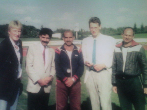 Abdul Khaliq in middle with Dr. Abdul Waheed Mughal and International Coaches in 1987 at West Germany - Abdul Khaliq (athlete)