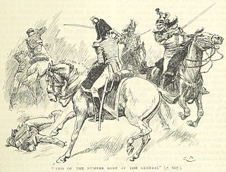 Battle of Alexandria - Abercromby (center) fights two French dragoons (from an English book)